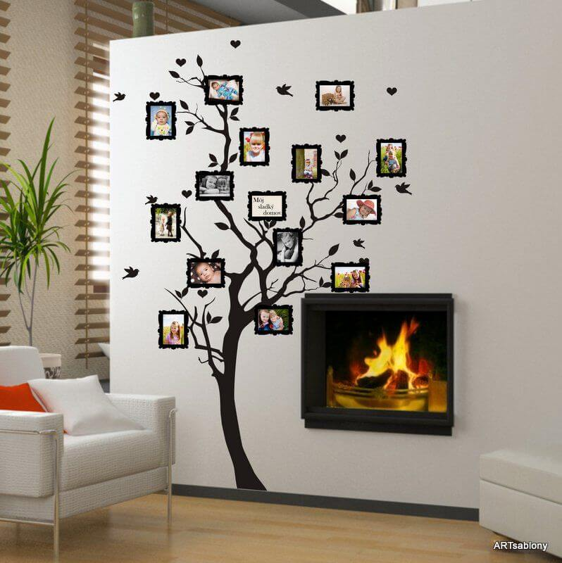 Vinilo decorativo para la pared - Árbol con fotos 9x13 cm